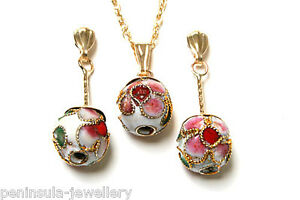 9ct Gold Chinese ball white Pendant and Earring Set Gift Boxed Made in UK