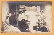Real Photo Postcard RPC - Man at Sewing Machine Making Mattress - Dog