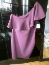 Ted Baker Burgundy One Shoulder Shift Dress Size 14