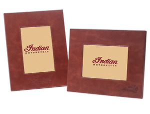INDIAN MOTORCYCLE SET OF 2 BROWN LEATHER PICTURE PHOTO FRAMES EMBOSSED LOGO IMC
