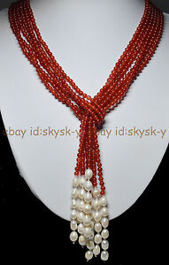 """AAA 50 """" Beautiful 3 Strands Natural 4mm Red Ruby Freshwater Pearl Necklace"""