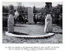 1931  --  CIMETIERE DE PUBLIER  AMPHION  STELE OU EST LE COEUR MME DE NOAILLES
