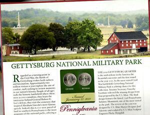 Gettysburg Quarters P&D 2011 Postal Panel Collection PCS America the Beautiful