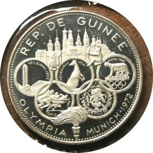 elf Guinea 500 Francs 1970 Silver Proof Olympic Games  only 1,900 minted