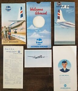 Lot 6 Icelandic Airlines 1956 Airfare Tourist Info Postcard Map Iceland Vintage