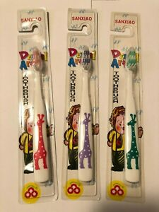 "3 kids junior ""giraffe"" toothbrushes, different colours."