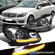 2012-2014 Benz W204 C Class Black Projector Headlights Head Lamps Left+Right