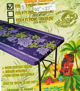 """Hawaiian Fitted Picnic Tablecloth Fits 5 feet 60x27"""" picnic table Luau party"""