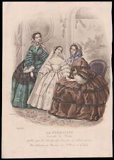 VICTORIAN antique 1860s Parisian Fashion Print Plate HAND COLORED communion girl