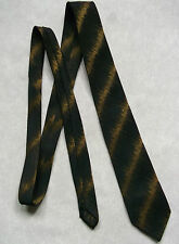 VINTAGE Da Uomo Skinny slim TREVIRA Cravatta anni 1960 MOD modernist Due Tonalità Bronzo Nero