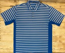 Men Nike FitDry Golf Shirt Polo Rugby Short Sleeve Blue Stripe Size Large