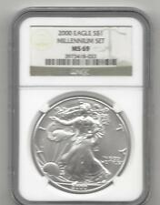 2000 millennium set silver eagle ngc 69  no spots or toning