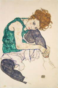 Egon Schiele Seated Woman with Legs Drawn Up Giclee Paper Print Poster