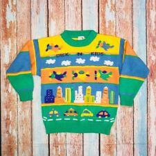 Vintage Dick N Kids 70's Kids Youth Acrylic Knit Jumper Sweater Size L Airplane
