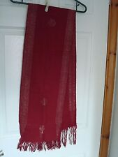 """NEW VINTAGE UNUSED BURGUNDY SCARF WITH METALLIC THREADS FROM INDIA 60"""" X 10.25"""""""