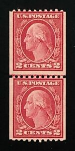 US Stamps SC# 450 2 cent red, coil Line Pair, MNH, with PF cert