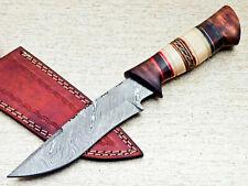 "FABULOUS CUSTOM HAND FORGED DAMASCUS STEEL HUNTING KNIFE ""CAMEL BONE"" UT-2094"