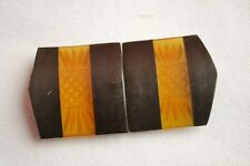 Vintage/antique belt buckle reverse carved apple juice bakelite & wood art deco