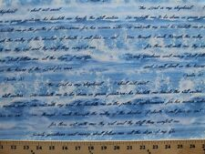 Bible Study I & II Psalm 23 Verse Waves Cotton Fabric Print by the Yard D582.28