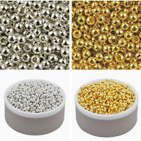 Silver/ Gold Plated Round Smooth Spacer Loose Beads Jewelry Making 2.5/3/4/5/6mm