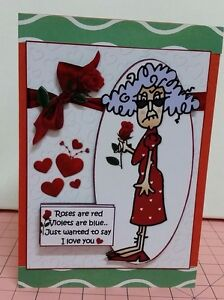 Funny/Humorous Handmade Valentines Day Card.. Roses Are Red Female .. Layered