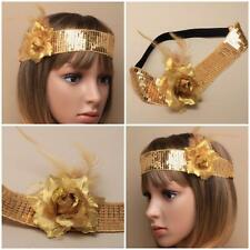 GOLD SEQUIN BROWBAND ON BLACK ELASTIC WITH ROSE & FEATHERS 1920S GATSBY