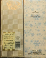 Lot Of 2 American Greetings Silver White Checkered / Snowflakes Tissue Paper