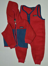 Vintage Patagonia Two Tone Red Fleece Snow Suit Pants/Jacket 18 Months Toddler