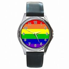 Gay Pride Rainbow Flag LGBT Parade Accessory Leather Watch New!