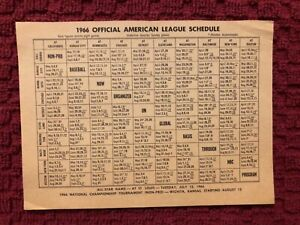 1966 MAJOR LEAGUE BASBALL SCHEDULE AL & NL