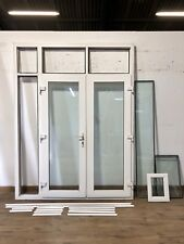 UPVC FRENCH DOUBLE GLAZED DOORS-EXTERNAL-WHITE-PVCU-TOP LIGHTS WINDOW-TALL-SHORT
