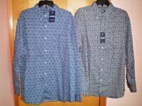 NWT NEW mens blue print CHAPS l/s cotton casual shirt $60 retail