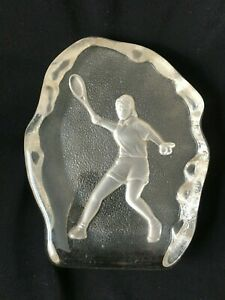 Large GLASS ICE style shape paperweight ETCHED tennis player RAQUET SPORTS GIFT