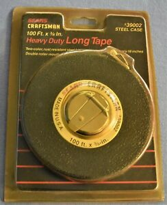 NEW Vintage Sears CRAFTSMAN 100' STEEL Retractable TAPE Measure 39002 Black