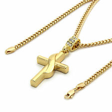 "Mens 14k Gold Plated Banner Cross Pendant with 30"" inches Cuban Necklace Chain"
