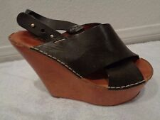 CHLOE $895 Criss Cross Wrapped Calf Leather Wedges Sandals Khaki green SZ 38/7