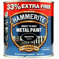 NEW HAMMERITE DIRECT TO RUST METAL PAINT SMOOTH BLACK 750ML +33% EF 5158235