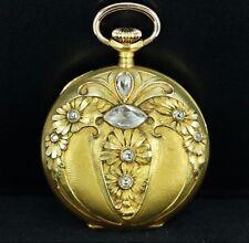 1890's Rare Ulysse Nardin Locle Rose Cut Diamond 18K Yellow Gold Pocket Watch 32