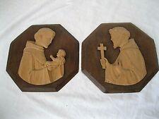 2 x Wandbild Holz geschnitzt Hl. Franziskus + Hl. Antonius mit Kind 8-eckig