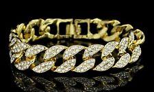"Men's Iced Out Miami Cuban Link Bracelet 14k Gold Plated Cz Hip Hop 8.5"" inch"