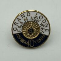 Grand Lodge F & AM New York 40 Years Service Member Lapel Pin Masonic  K3