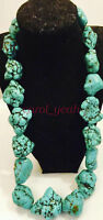 Natural turquoise necklace 18 inches silver clasp Bohemian