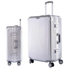 """26"""" Travel Luggage Set Bag Silver ABS Aluminum frame Trolley Suitcase  4 Wheels"""