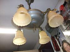 Vintage  Four Socket   Brass & Metal  Hanging Ceiling Chandelier Light.