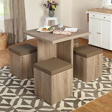5 Piece Dining Set with Storage Ottomans Stools Kitchen Space Saver Furniture