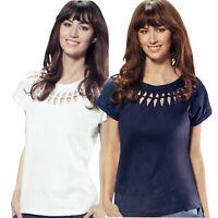 Damen T Shirt einfarbig dekorative Zopfmusteroptik runder Ausschnitt Baumwolle