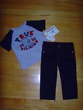 NEW TRUE RELIGION BABY BOYS OUTFIT 2PC GIFT SET STRAIGHT JEANS & T-SHIRT 9M