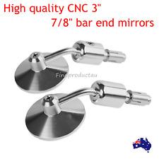 """CNC billet Rear view Bar End 7/8"""" convex Mirror Round Chrome Suzuki Yamaha 22mm"""