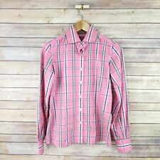R&G ROBERT GRAHAM Womens' Long Sleeve Button Front Blouse Sz 2 Pink Plaid