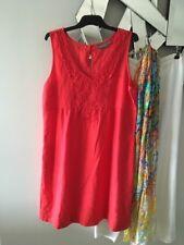 SUSSAN Orange 100% Linen Sleeveless Dress 2 x Pockets 12 PC